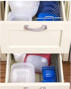 CD racks to organize plastic container lids