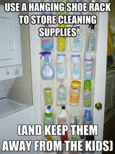 Hanging shoe rack to store cleaning supplies