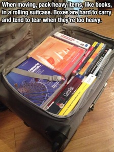 Suitcase to pack heavy books when moving