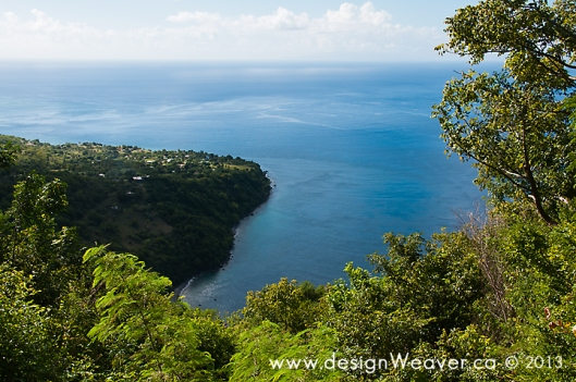 Secluded bay and the Village of Anse L'lvrogne